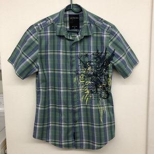 EUC Calvin Klein Jeans Mens Green Plaid Shirt
